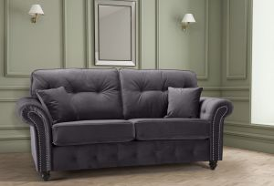 Velvet Dark Grey 3 Seater Bella Sofa with High Back and Reversible Cushions