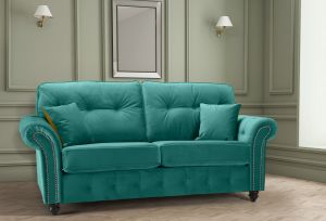 Velvet Teal / Turquoise 3 Seater Bella Sofa with High Back and Reversible Cushions