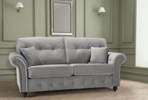 Velvet Light Grey 3 Seater Bella Sofa with High Back and Reversible Cushions