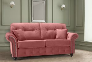 Velvet Dusky Pink 3 Seater Bella Sofa with High Back and Reversible Cushions