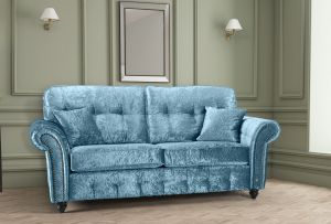Crushed Velvet Aqua Blue 3 Seater Bella Sofa with High Back