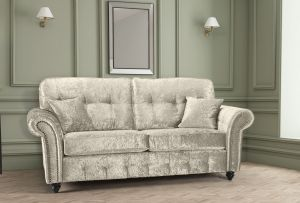 Crushed Velvet Cream 3 Seater Bella Sofa with High Back