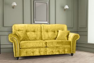 Crushed Velvet Gold 3 Seater Bella Sofa with High Back