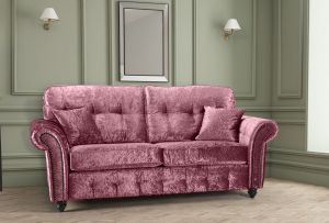 Crushed Velvet Mulberry 3 Seater Bella Sofa with High Back