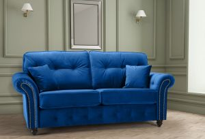 Velvet Blue 3 Seater Bella Sofa with High Back and Reversible Cushions