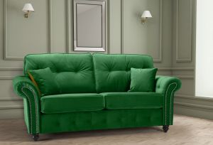 Velvet Emerald Green 3 Seater Bella Sofa with High Back and Reversible Cushions