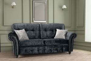 Crushed Velvet Black 3 Seater Bella Sofa with High Back and Reversible Cushions
