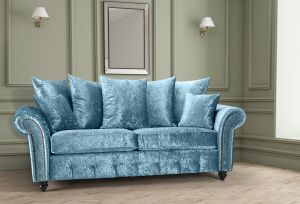 Crushed Velvet Aqua Blue 3 Seater Bella Sofa