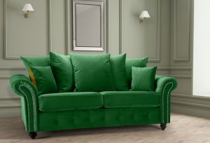 Velvet Emerald Green 3 Seater Bella Sofa with Reversible Cushions