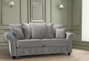 Velvet Light Grey 3 Seater Bella Sofa with Reversible Cushions