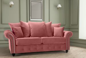 Velvet Dusky Pink 3 Seater Bella Sofa with Reversible Cushions