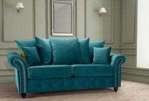 Velvet Teal / Turquoise 3 Seater Bella Sofa with Reversible Cushions