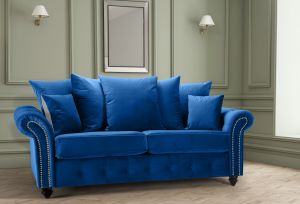 Velvet Blue 3 Seater Bella Sofa with Reversible Cushions