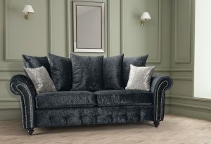 Crushed Velvet Black 3 Seater Bella Sofa with Reversible Cushions