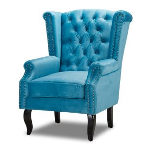 Velvet Wing Back Fireside Chair / Armchair with Buttons Cerulean Blue