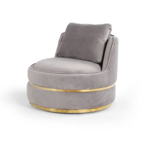 Velvet Light Grey Bria Cuddle Chair