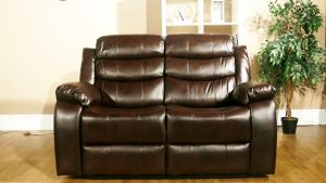 Leather Air Brown 2 Seater Vista Manual Recliner