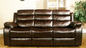 Leather Air Brown 3 Seater Vista Manual Recliner