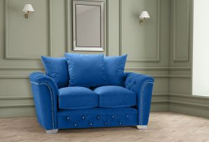 Velvet Blue 2 Seater Buckingham Diamante Sofa
