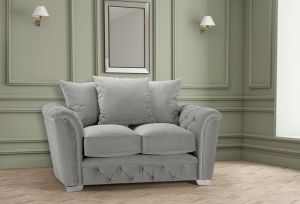 Velvet Light Grey 2 Seater Buckingham Sofa