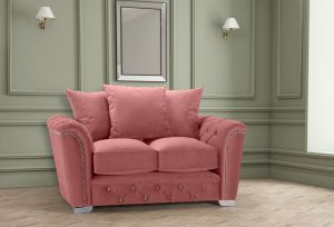 Velvet Dusky Pink 2 Seater Buckingham Diamante Sofa