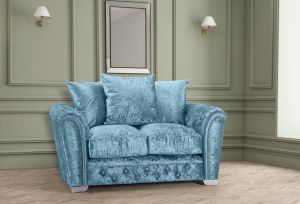 Crushed Velvet Aqua Blue 2 Seater Buckingham Diamante Sofa