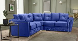 Velvet Blue 2c2 Buckingham Diamante Corner Sofa