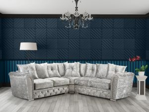 Crushed Velvet Icy Blue Silver 2C2 Buckingham Diamante Corner Sofa