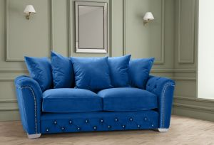 Velvet Blue 3 Seater Buckingham Diamante Sofa