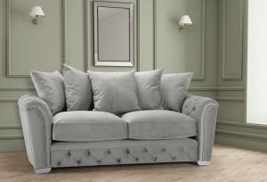 Velvet Light Grey 3 Seater Buckingham Sofa