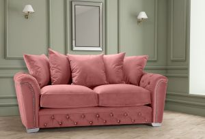 Velvet Dusky Pink 3 Seater Buckingham Diamante Sofa