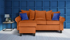 Velvet Burnt Orange St Moritz Corner Sofa With Reversible Chaise