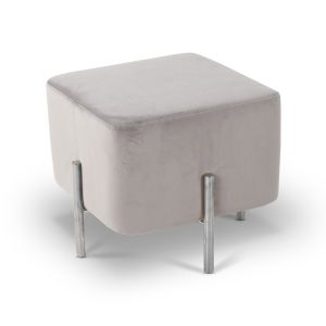 Velvet Light Grey Carina Ottoman