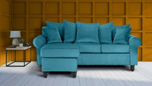 Velvet Cerulean Blue St Moritz Corner Sofa With Reversible Chaise