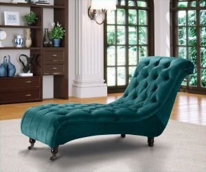 Velvet Fabric Chesterfield Chaise Lounge Teal Belmont