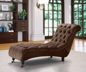 Velvet Fabric Chesterfield Chaise Lounge Brown