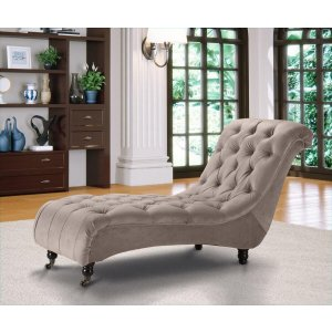 Velvet Fabric Chesterfield Chaise Lounge Mink Belmont