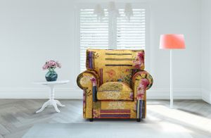 Fabric Gold Patchwork Armchair Charlotte With High Back