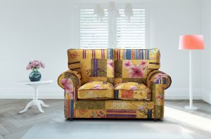 Fabric Gold Patchwork 2 Seater Charlotte Sofa With High Back