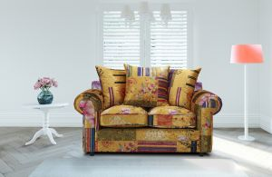 Fabric Gold Patchwork 2 Seater Charlotte Sofa With Scatter Cushions