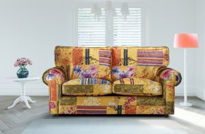 Fabric Gold Patchwork 3 Seater Charlotte Sofa With High Back