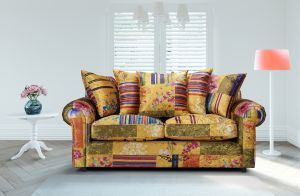 Fabric Gold Patchwork 3 Seater Charlotte Sofa With Scatter Cushions
