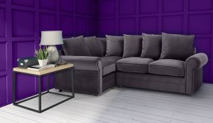 Velvet Dark Grey 1c2 Corner Charlotte Sofa With Scatter Cushions
