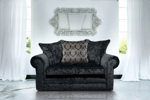 Crushed Velvet Black 2 Seater Charlotte Munich Sofa