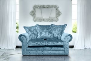 Crushed Velvet Aqua Blue 2 Seater Charlotte Sofa