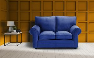 Velvet Marine Blue 2 Seater Charlotte Sofa With High Back