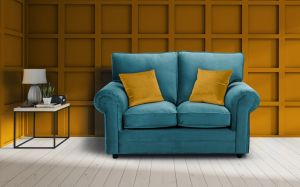 Velvet Turquoise / Teal 2 Seater Charlotte Sofa With High Back And Contrasting Pillows