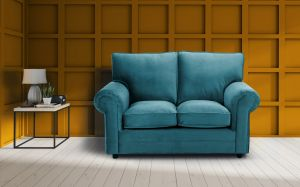 Velvet Turquoise / Teal 2 Seater Charlotte Sofa With High Back