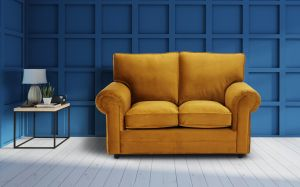 Velvet Mustard Gold 2 Seater Charlotte Sofa With High Back