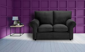 Velvet Black 2 Seater Charlotte Sofa With High Back